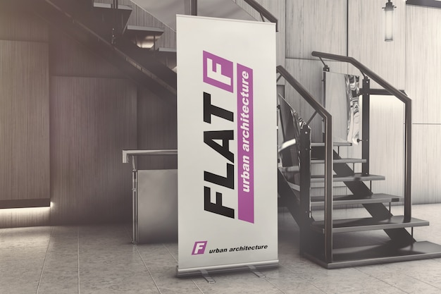 Roll-up standing banner in exhibition hall mockup