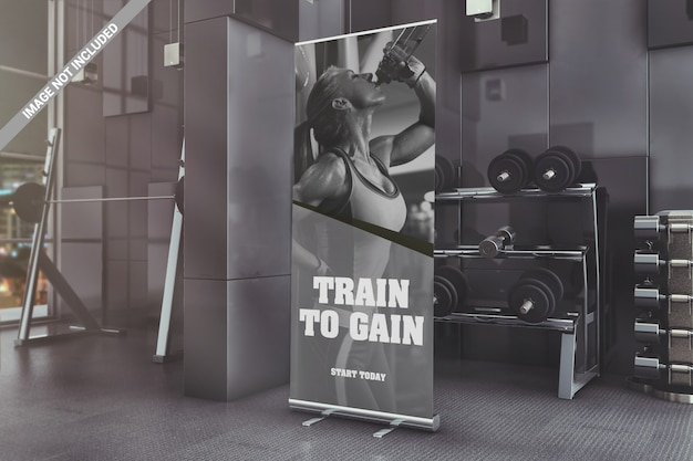 Roll-up standing banner in gym mockup