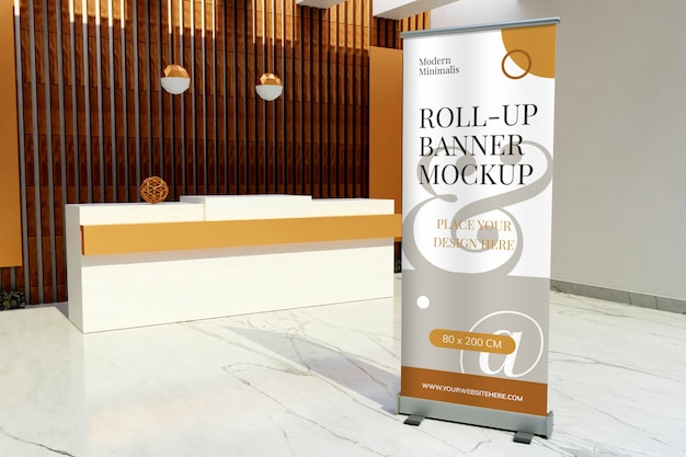 Roll-up standing banner mockup in the front of reception desk hotel