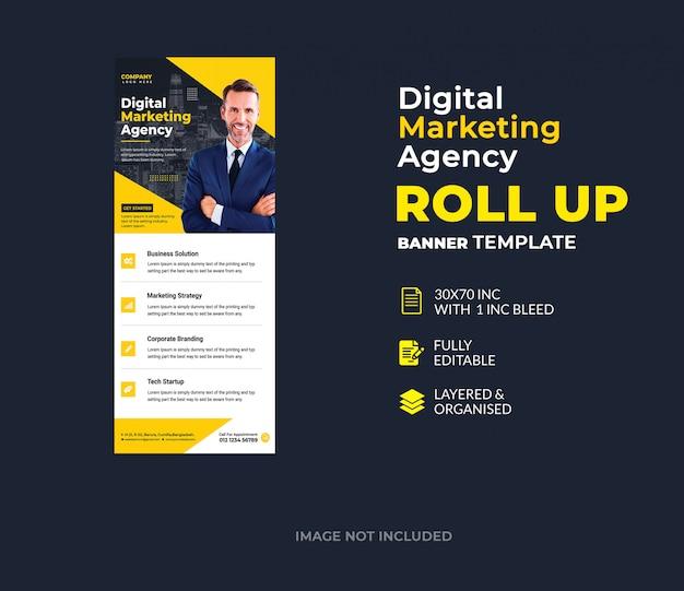 Цифровой маркетинг корпоративный шаблон баннера roll up