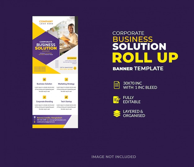 Корпоративный бизнес шаблон баннера roll up