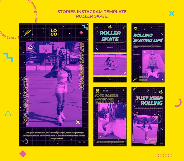 ローラースケートのコンセプトのinstagramストーリーテンプレート