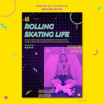 Modello di poster di concetto di pattino a rotelle