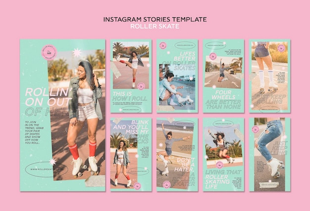 Roller skate instagram stories template