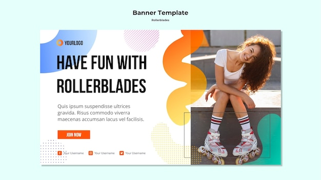 Rollerblades concept banner template