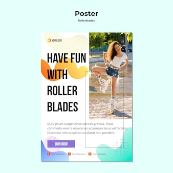 Rollerblades concept poster template
