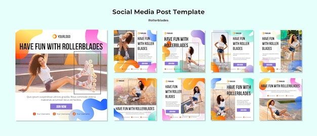 Rollerblades concept social media post template