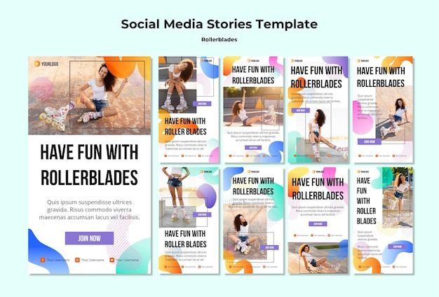 Rollerblades 개념 소셜 미디어 스토리 템플릿