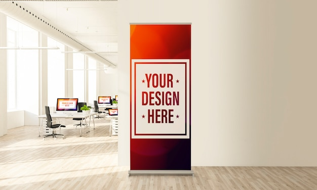 Rollup poster mockup in office space