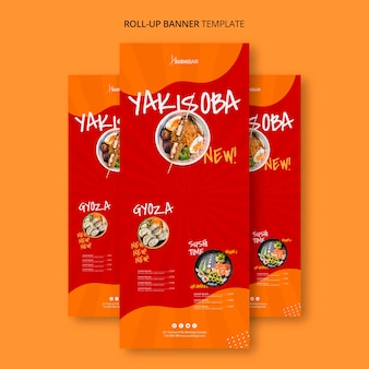 Rollup template  for asian japanese restaurant o sushibar