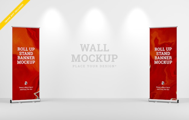 Rollup xbanner stand mockup and wall mockup design. template psd.