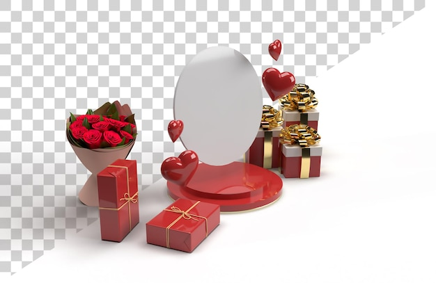 Romantic 3d stage scene celebration for valentine day with gift