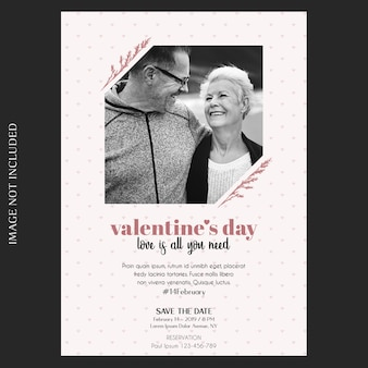 Romantic, creative, modern and basic valentine's day invitation, greeting card and photo mockup