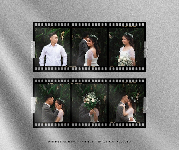 Romantic film strip photo set mockup with light effect
