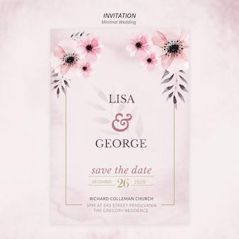 Romantic minimal wedding invitation