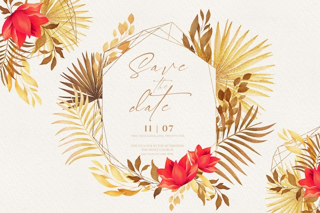 Romantic save the date invitation with golden and red nature