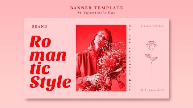 Romantic style girl banner template