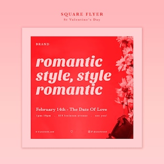 Romantic style valentine's day with flowers flyer