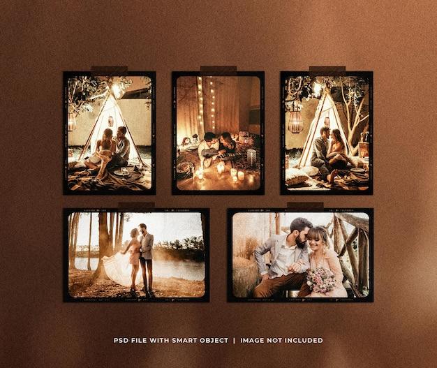 Романтическая винтажная рамка для фотографий polaroid set mockup