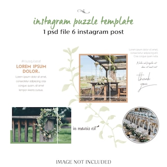 Romantic wedding instagram collage template