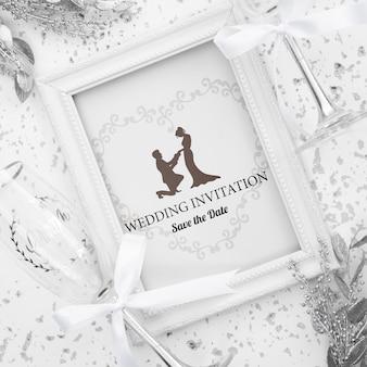 Romantic wedding invitation frame