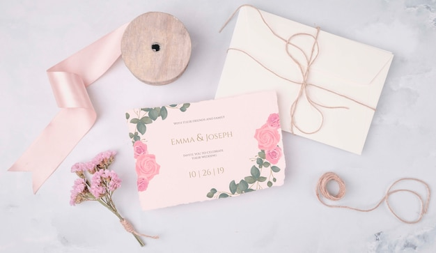 Romantic wedding invitation with ribbon
