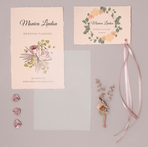Romantic wedding invitations with ribbon