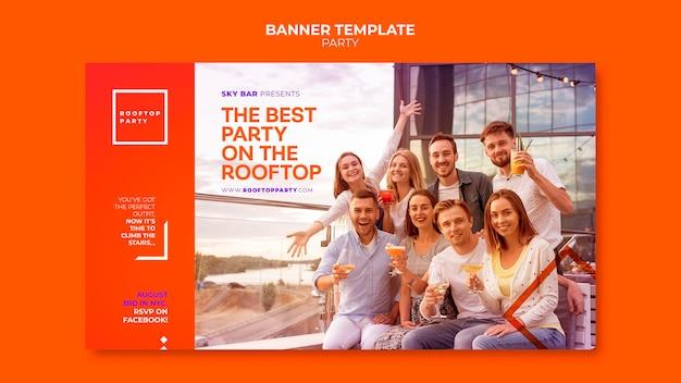 Modello di banner orizzontale festa sul tetto