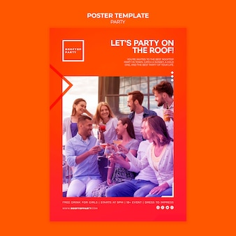 Rooftop party poster template