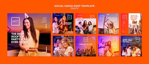 Rooftop party social media post template
