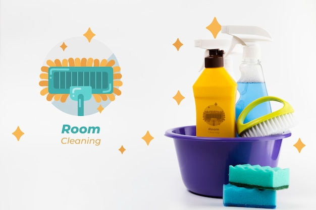 Room cleaning products in a bucket