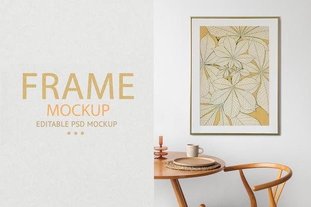 Room and frame mockup psd with scandinavian living room interior design