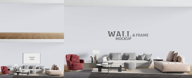 Room is designed in a modern style. wall and frame mockup