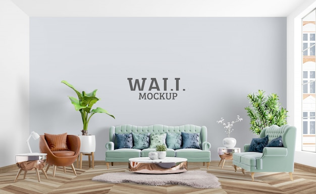 Room is designed in a neoclassical style. wall mockup