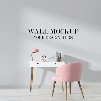 Room wall background mockup with furniture