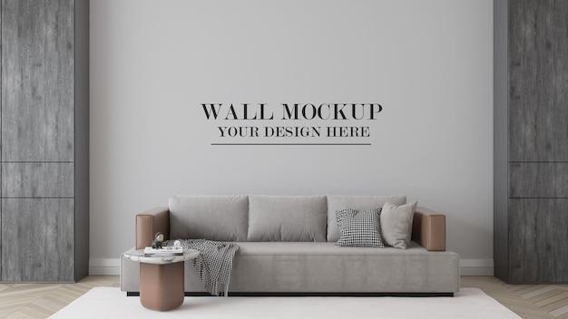 Макет стены комнаты за современным диваном в 3d-рендеринге
