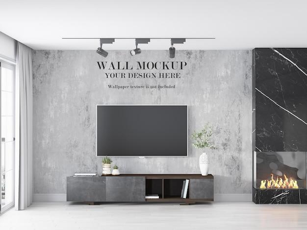 テレビの後ろの部屋の壁のモックアップ