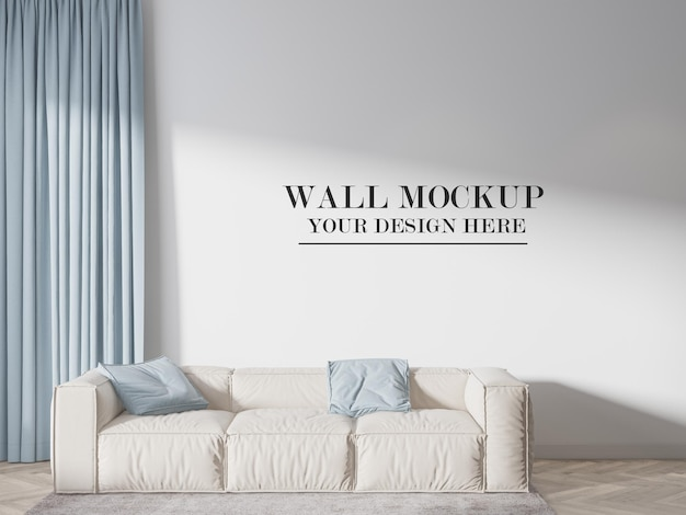 Room wall mockup behind couch