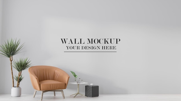 Room wall mockup decorated with armchair and plant
