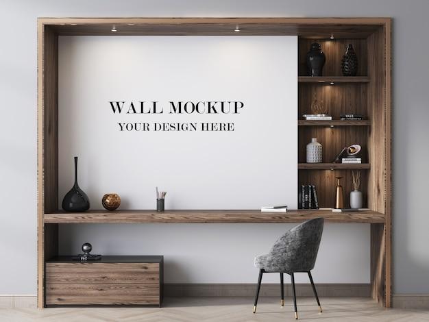 Room wall mockup decorated with modern wall unit