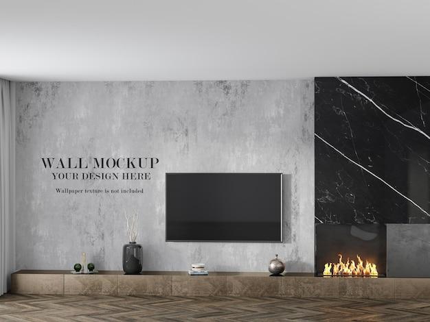 テレビの後ろの部屋の壁紙のモックアップ
