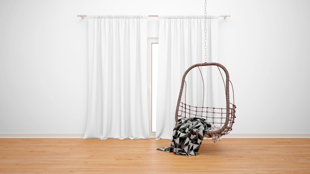 흰색 커튼이 달린 창문 옆에 의자가 달린 방