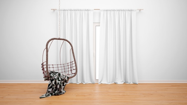 Room with hanging chair next to the window with white curtains