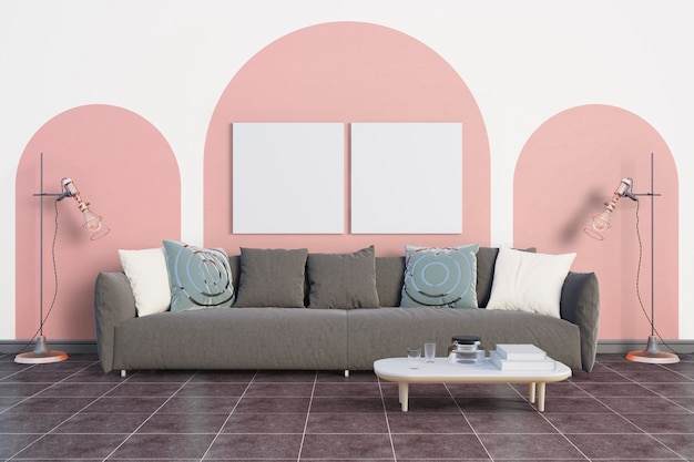 The room with a soft pink tone