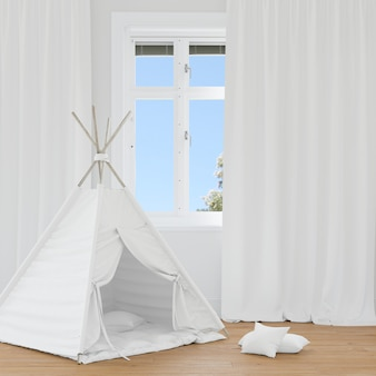 하얀 천막이있는 방