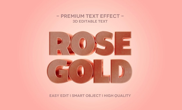 Шаблон текстового эффекта розового золота 3d