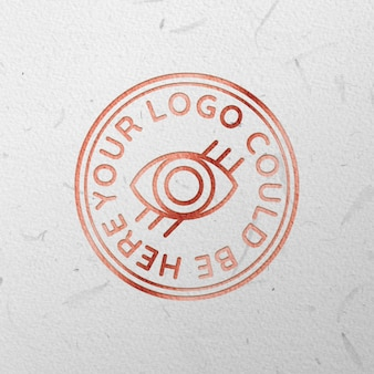 Rose gold engraved logo mock up