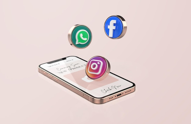 3dソーシャルメディアアイコンとローズゴールド携帯電話のモックアップ