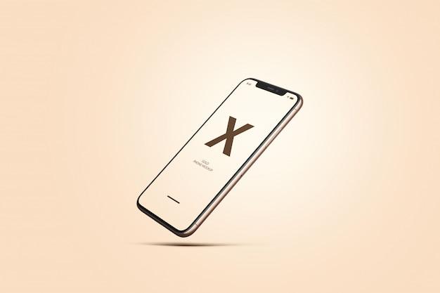 ローズゴールドの携帯電話のモックアップ