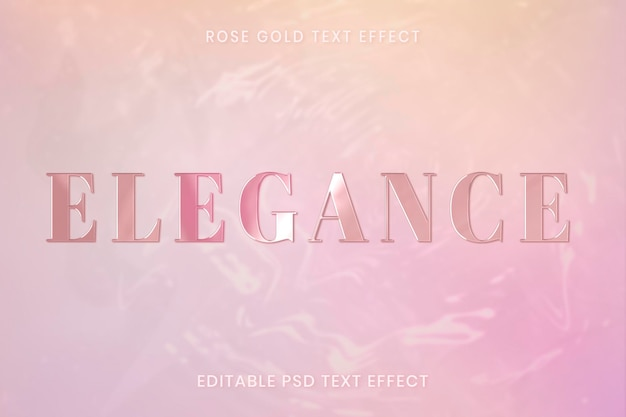 Rose gold text effect psd editable template
